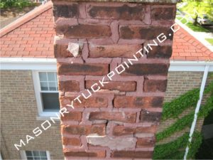 Chimney wall requires repairs 7 - brickwork repair and replacement in Chicago and surrounding area