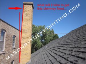 West Chicago IL chimney repair - leaning chimney is extremely hazardous!