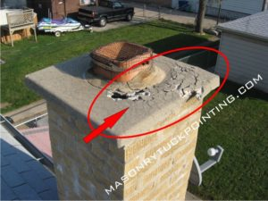 Chimney crown deteriorated 1 - brickwork repair and replacement in Chicago and surrounding area