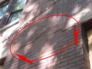Steel lintel replacement Clarendon Hills IL - displaced bricks as a result of a deteriorating window lintels