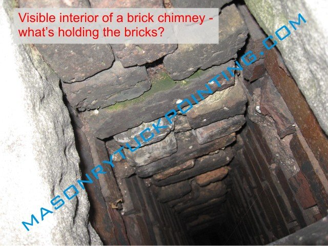Heavily deteriorated brick chimney interior - best chimney repair Chicago by EDMAR