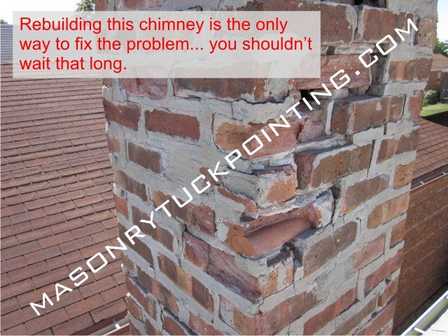 Heavily deteriorated chimney walls require rebuilding - Chicago brick chimney repair near me