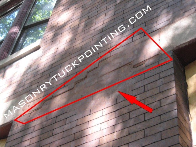 Corroding steel lintels expansion results in loose mortar and displacement of bricks and brick wall sections