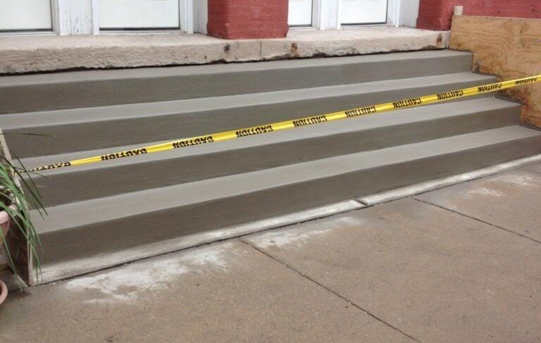 Commercial concrete steps installation by EDMAR Corporation Masonry